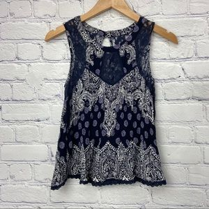 Eclipse Blue and White Lace Design Sleeveless Top